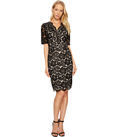 Ellen Tracy - Elbow Sleeved Lace Dress with V-Neck and Nude Lining