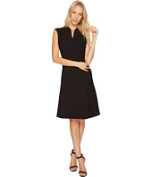 Ellen Tracy - Solid Fit and Flare Dress with Front Zipper Detail