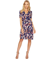 Ellen Tracy - Printed Faux Wrap Dress with V-Neck and Tie at the Waist