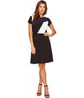 Ellen Tracy - Short Sleeved Color Block Dress with Belt