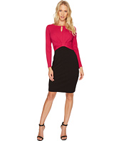 Ellen Tracy - Long Sleeve Color Block Dress w/ Keyhole