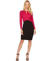 Ellen Tracy - Long Sleeve Color Block Dress w/ Keyhole
