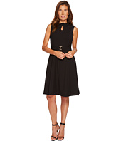 Ellen Tracy - A-Line Bistretch Dress with Keyhole and Buckle Detail