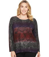 Nally & Millie - Plus Size Tribal Print Sweater Tunic