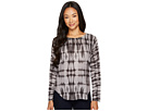 Grey Tie-Dye Print Sweater Top