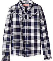 Blank NYC Kids - Navy Plaid Shirt in Bluejay (Big Kids)