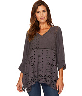 Dylan by True Grit - Embroidered & Eyelet Slub Challis Coquette Pullover