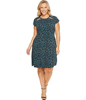 MICHAEL Michael Kors - Plus Size Layered Leaf Shirred Neck Dress