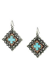 M&F Western - Diamond Shaped Turquoise Cross Earrings