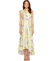 Sangria - V-Neck Floral Print Hi Low Hem Gown with Pockets