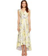 Sangria - V-Neck Floral Print Hi Low Hem Gown with Pockets