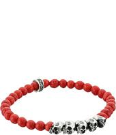 King Baby Studio - 6mm Red Coral Bead Bracelet with Skull Bridge