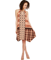 London Times - Batik Patchwork Hanky Hem Halter Dress