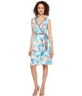 London Times - Matte Jersey Fit & Flare Wrap Dress