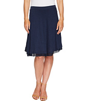 Three Dots - Linen Jersey Chiffon Trimmed Skirt