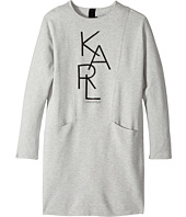 Karl Lagerfeld Kids - Long Sleeve Milano Dress with Logo Graphics (Big Kids)
