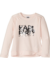 Karl Lagerfeld Kids - Long Sleeve Graphic Tee with Gathering On The Shoulders (Toddler)