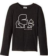 Karl Lagerfeld Kids - Long Sleeve Karl & Choupette Silhouette Tee (Little Kids)