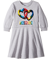 Moschino Kids - Long Sleeve Multicolored Heart Logo Dress (Little Kids/Big Kids)