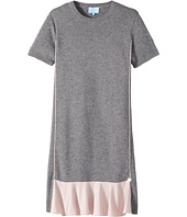 Lanvin Kids - Short Sleeve Knit Dress with Contrast Ruffles On Front (Big Kids)