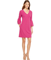 Donna Morgan - 3/4 Bell Sleeve Crepe Shift with V-Neck