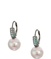 Majorica - 10mm Round Pearl with CZ Sterling Silver Earrings