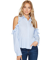 ROMEO & JULIET COUTURE - Striped Cold Shoulder Ruffle Button Up Shirt