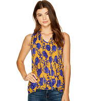 ROMEO & JULIET COUTURE - Pleated Floral Printed Tie Up Top