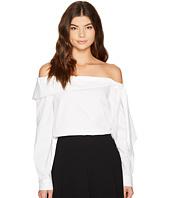CeCe - Long Sleeve Off Shoulder Bow Front Poplin Shirt