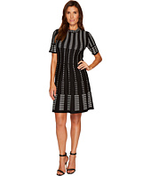 CeCe - Short Sleeve Jacquard A-Line Sweater Dress