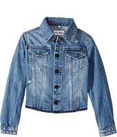DL1961 Kids - Mid Wash Denim Jacket with Mild Distressing and Angled Hem (Big Kids)