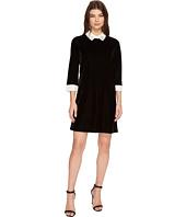 CeCe - 3/4 Sleeve Embellished Collar Velvet Dress