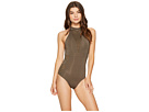 Parallels High Neck One-Piece Swimsuit