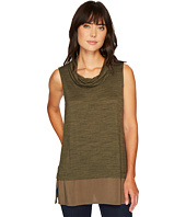 TWO by Vince Camuto - Sleeveless Space Dye Cowl Neck Mix Media Top