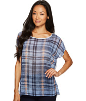 TWO by Vince Camuto - Short Sleeve Mixed Media Plaid Textures Tee