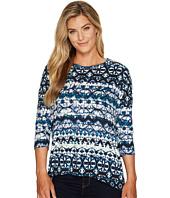 Tribal - 3/4 Sleeve Scoop Neck Printed Suede Knit Top