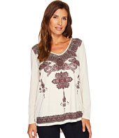Tribal - Long Sleeve Knit Top w/ Printed Faux Suede Front