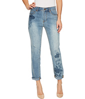 Tribal - Embroidered Girlfriend Pant Soft Denim in Classic Blue
