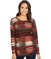 Tribal - Long Sleeve Printed Scoop Neck Top