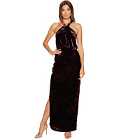 Aidan Mattox - Printed Velvet Halter Blouson Column Gown with Side Slit