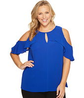 Vince Camuto Specialty Size - Plus Size Flutter Sleeve Cold Shoulder Blouse