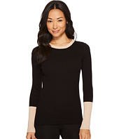 Vince Camuto Specialty Size - Petite Color Blocked Long Sleeve Ribbed Sweater