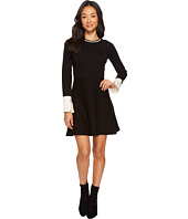 Vince Camuto Specialty Size - Petite Long Sleeve Split Cuff Flared Sweater Dress