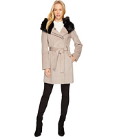 Calvin Klein - Wool Coat with Oversize Fur Hood Belted