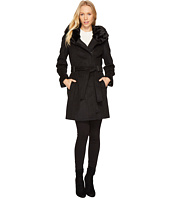 Calvin Klein - Wool Coat with Oversize Fur Hood Belted