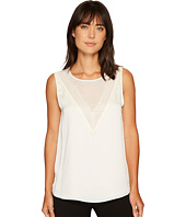 Vince Camuto - Sleeveless Mesh Yoke Blouse w/ Lace Trim