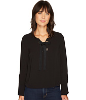 Vince Camuto - Long Sleeve Lace-Up Blouse w/ Flutter Sleeves