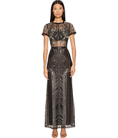 Marchesa Notte - All Over Embroidered Gown w/ Cap Sleeves