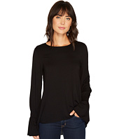 Vince Camuto - Long Sleeve Flutter Cuff Mix Media Top