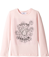 Versace Kids - Long Sleeve T-Shirt w/ Medusa Rose Design On Front (Toddler/Little Kids)